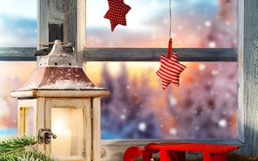 Картинка зима, снег, елка, звёзды, окно, фонарь, Новый год, Christmas, санки, winter, snow, lamp