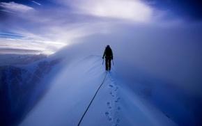 Картинка снег, горы, альпинист, Mont Blanc, восхождение