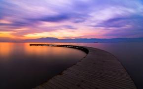 Картинка озеро, горы, мостик, пирс, небо, облака, закат