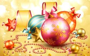 Картинка шарики, новый год, звездочки, елочные игрушки, новогодний фон