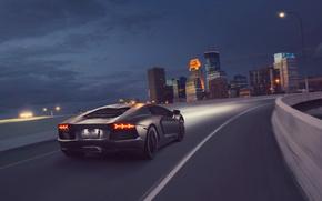 Картинка Lamborghini, Light, Speed, Black, LP700-4, Aventador, Supercar, Rear