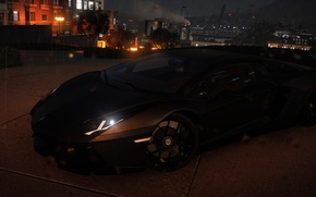 Картинка ночь, город, дождь, Lamborghini, матовый, фонари, Aventador, The Crew, Wild Run, промплощадка