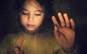 Картинка девочка, стекло, грусть, капли
