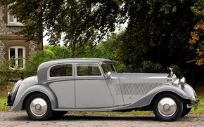 Картинка car, машина, авто, машины, ретро, серый, серебристый, Phantom, серая, серебристая, vintage, retro, винтаж, classic, Royce, …