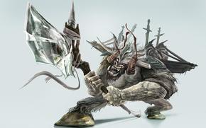 Картинка оружие, зубы, воин, татуировка, оскал, рога, топор, мечи, минотавр