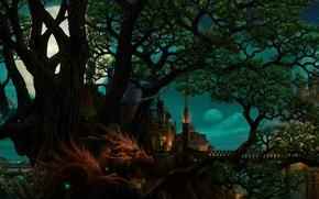 Картинка планеты, мост, арт, город, дракон, луна, дерево, ucchiey, ночь, kazamasa uchio
