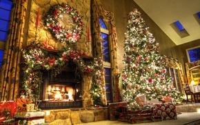 Обои подарки, ёлка, новый год, камин, дом