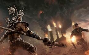 Обои Закат, Дым, Огонь, Оружие, Пламя, Mad Max, Warner Bros. Interactive Entertainment, Безумный Макс, Avalanche Studios