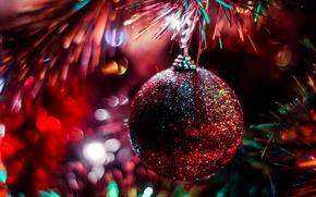 Обои шар, новогодний, украшение