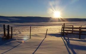 Картинка зима, солнце, снег