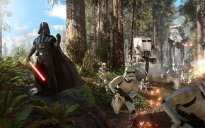 Картинка лес, небо, деревья, тучи, бой, Darth Vader, Световой меч, Дарт Вейдер, штурмовики, Electronic Arts, at-at, ...