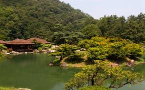 Обои япония, парк, takamatsu ritsurin garden, пруд