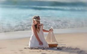 Картинка море, корабль, девочка