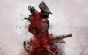 Картинка Город, Кровь, Оружие, Плащ, Охотник, From Software, Bloodborne