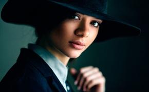Картинка портрет, Макс Кузин, шляпа, Дарья Черненко, боке, Дарья