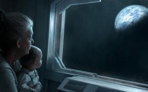 Картинка стекло, земля, планета, ребенок, бабушка, космическое пространство