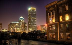 Картинка ночь, окна, дома, Center, Boston, Prudential, Night