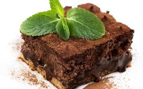 Картинка торт, выпечка, десерт, сладкое, крем, пирожное, шоколад, мята