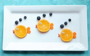Картинка рыбки, ягоды, апельсин, еда, тарелка, фрукты, голубика