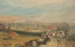 Картинка пейзаж, город, люди, картина, панорама, Лидс, Уильям Тёрнер
