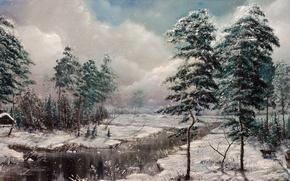 Картинка зима, снег, деревья, природа, дом, река, собака, охотник, изба