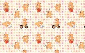 Картинка фон, текстура, арт, мишка, детская