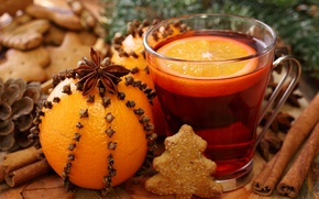 Картинка апельсин, Новый Год, печенье, Рождество, напиток, корица, гвоздика, праздники, бадьян, анис, глинтвейн