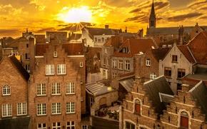 Картинка закат, Бельгия, Брюгге, старый квартал, лучики солнца