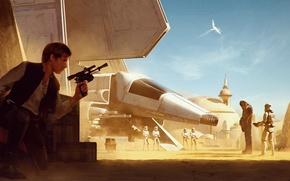Обои star wars, Chewbacca, stormtrooper, han solo, chewie, Harrison Ford