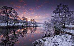 Картинка зима, пейзаж, закат, река