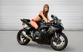 Картинка сузуки, Suzuki, мотоцикл, суперспорт, girl, чёрный, девушка, black, GSX