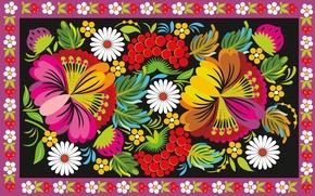 Картинка цветы, ягоды, узор, орнамент, роспись, народный