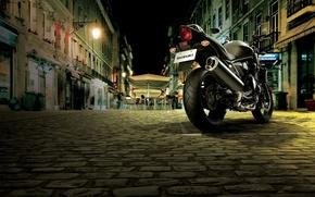 Картинка улица, мотоцикл, кафе, мостовая