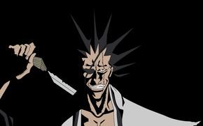 Картинка demon, sword, devil, bleach, katana, captain, mad, powerful, strong, muscular, shinigami, shihakushou, eye patch, zaraki, …