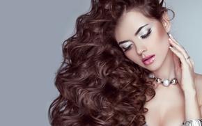 Обои девушка, модель, волнистые волосы