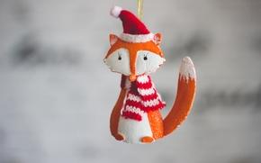 Картинка праздник, игрушка, новый год, лиса, лисичка, колпак