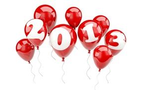 Обои шарики, 2013, Новый Год, праздиник, красные