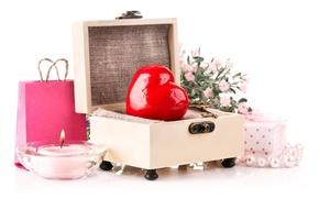 Картинка Сердце, Свечи, Valentine's Day, День Святого Валентина, Подарки