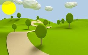 Картинка трава, тропинка, солнышко, облока