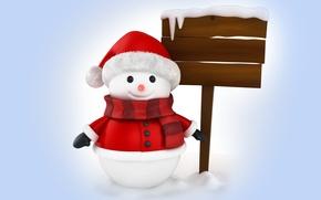 Обои snowman, 3d, winter, snow, cute, christmas, new year, santa