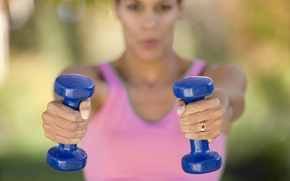 Картинка woman, workout, fitness, dumbbells