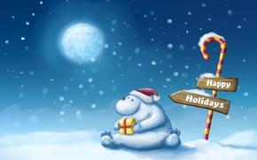 Картинка снег, подарок, рисунок, Зима, указатель