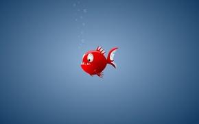 Обои минимализм, рыба, пиранья