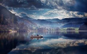 Картинка лодка, рыбаки, швейцария, озеро Тюрлерзее