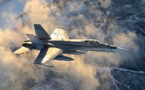Картинка CF-18, многоцелевой, «Хорнет», истребитель, облака, Hornet