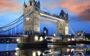 Картинка небо, вода, облака, закат, lights, огни, отражение, Англия, Лондон, вечер, Европа, Великобритания, Темза, Тауэрский мост, …