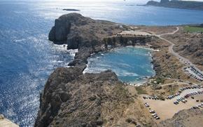Картинка море, бухта, Греция, горизонт, солнечные блики, Линдос, Родос