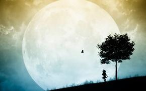 Картинка дерево, птица, луна, силуэт, девочка