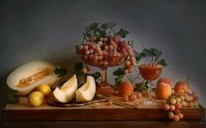 Картинка натюрморт, осень, виноград, лимоны, натюрморт с фруктами