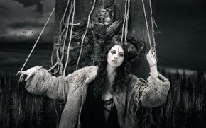 Картинка лес, девушка, арт, монохром, верёвки, Doom, Joachim Bergauer
